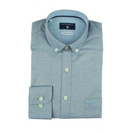 Camisa lisa azul cuello boton
