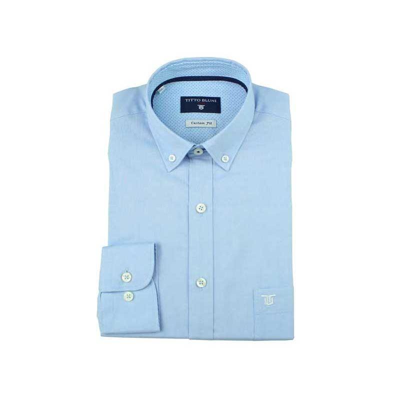 Camisa lisa celeste cuello boton
