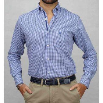 Camisa b/cuello cuadros azulon