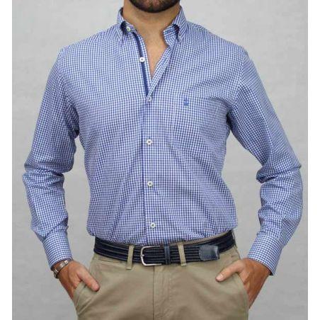 Camisa botón cuadro azulón