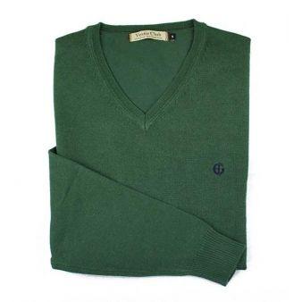Jersey cuello pico Verde Botella