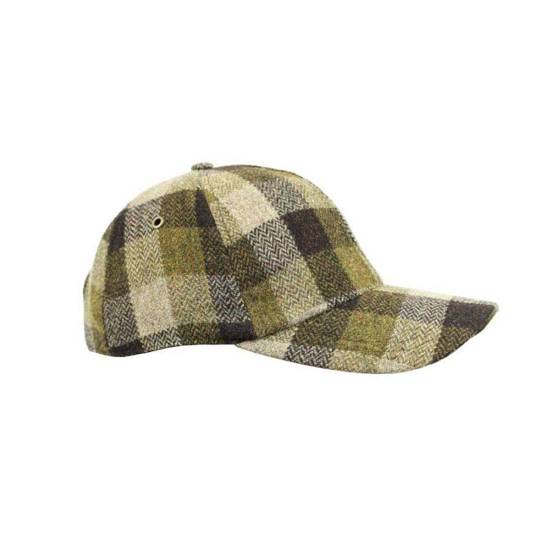 Gorra béisbol cuadros marrón y verde