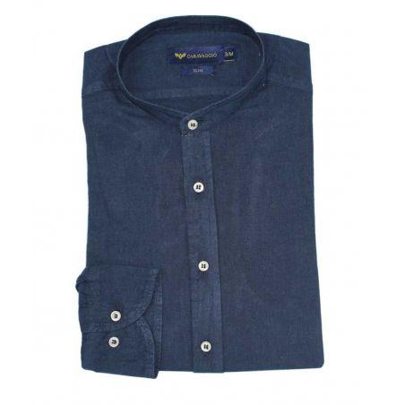 Camisa cuello mao marino