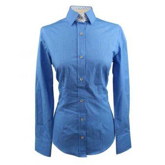Camisa cuadros pequeños azul