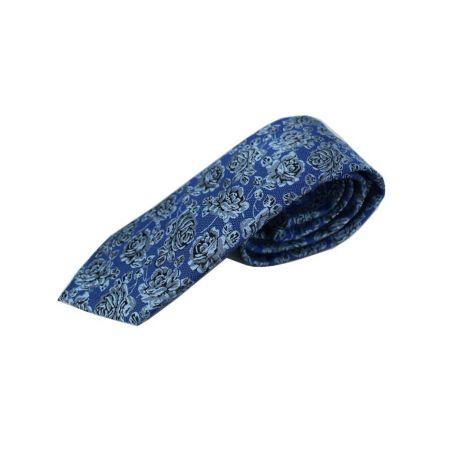 Corbata Seda Flor Azul y Gris