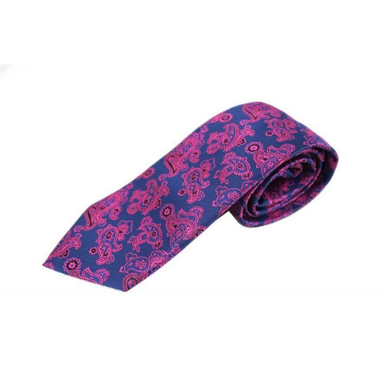 Corbata seda cachemir azul y fucsia