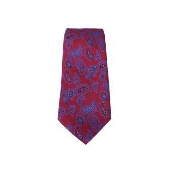 Corbata seda cachemir rojo y azul