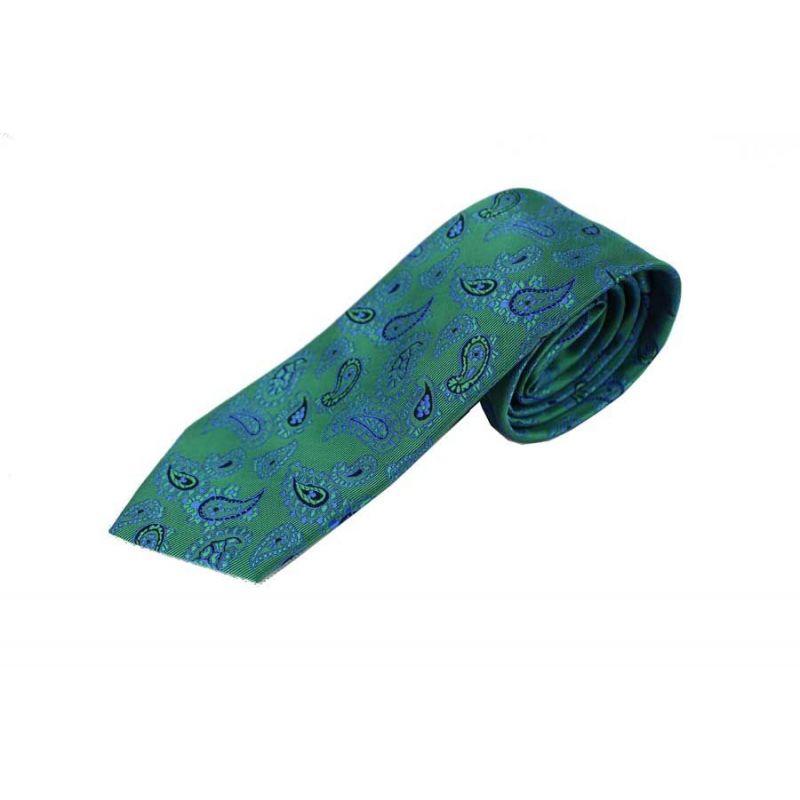 Corbata Seda Cachemir Verde y Azul