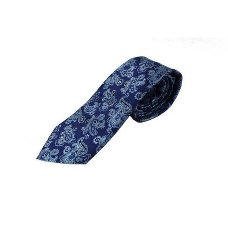 Corbata seda cachemir azul y celeste