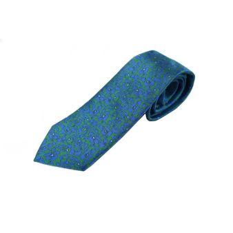 Corbata Seda Flores Verde y Azul