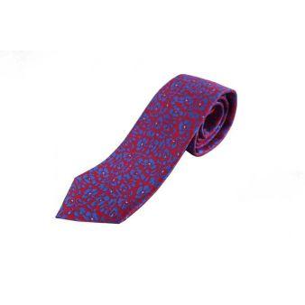 Corbata Seda Flores Roja y Azul