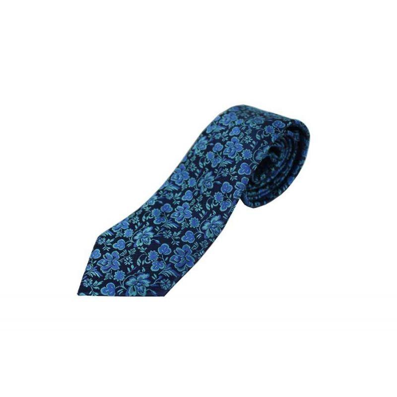 Corbata Seda Flores Marino y Azul