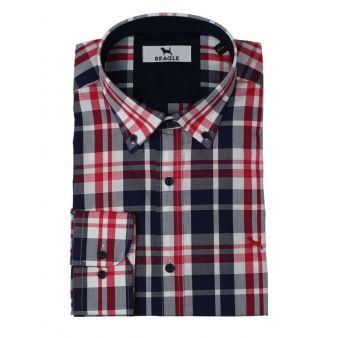 Camisa con cuadros azul y rojo