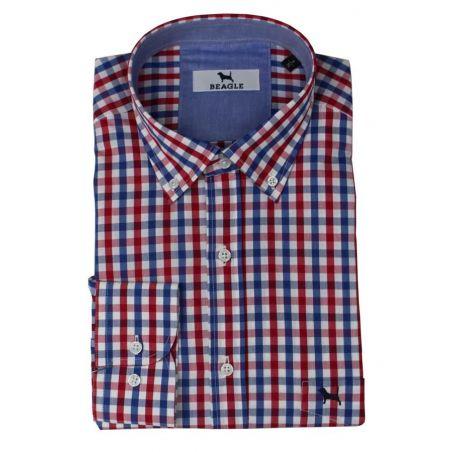 Camisa Lineas y Cuadros Azul y Rojo