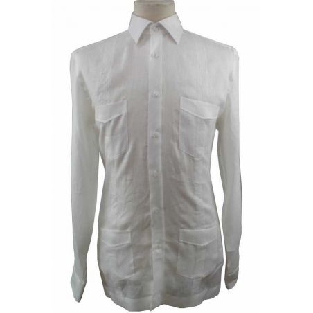 Camisa Cubana Lino Blanca