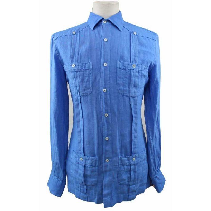 Camisa Cubana Lino Botones Azulón