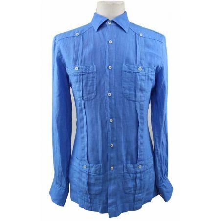 Camisa Cubana Lino con Botones Azulón