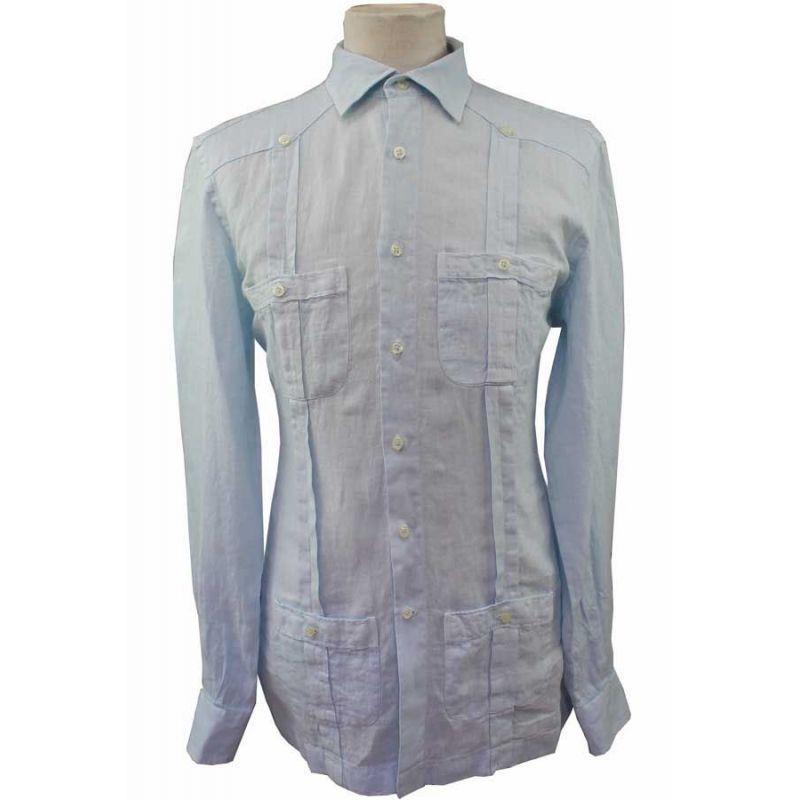 Camisa Cubana Lino con Botones Celeste