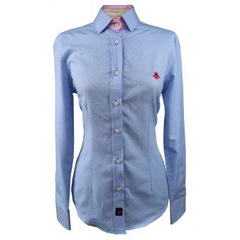 Camisa de señora vichy celeste