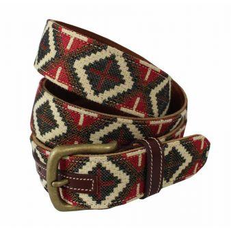 Cinturón cuero-tapicería rombos