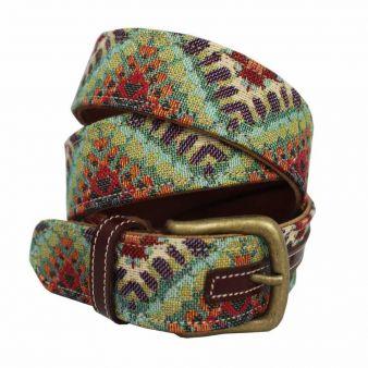 Cinturón cuero-tapicería combinado verde