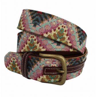 Cinturón cuero-tapicería combinado rosa