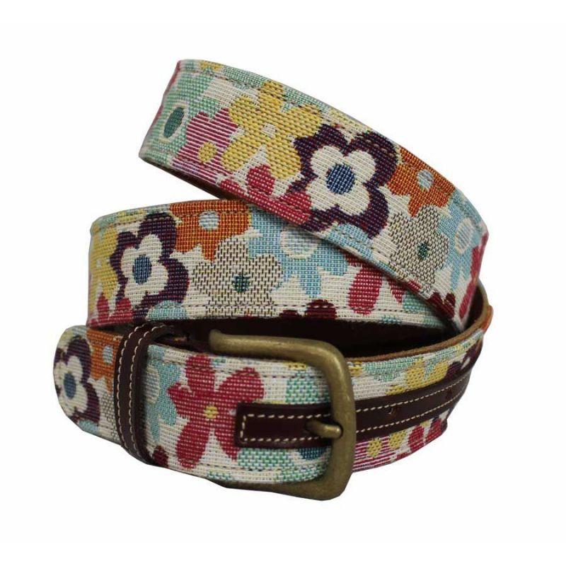 Cinturón cuero-tapicería combinado flores
