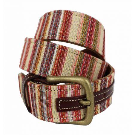 Cinturón cuero-tapicería rayas