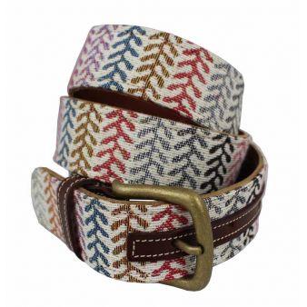 Cinturón cuero-tapicería hojas color