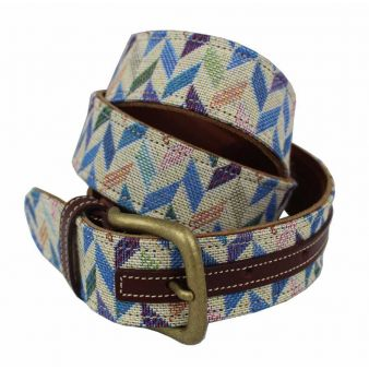 Cinturón cuero-tapicería colores rombos