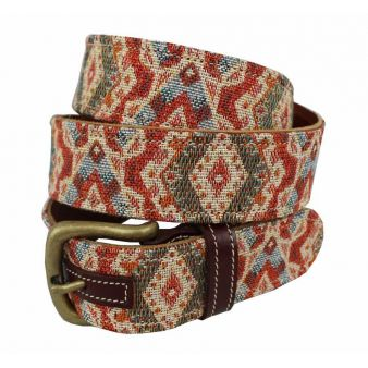 Cinturón cuero-tapicería beige-rojo