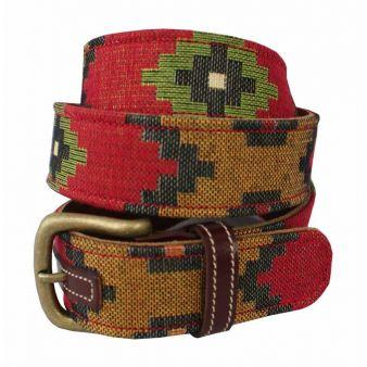 Cinturón Cuero-Tapicería Azteca Rojo