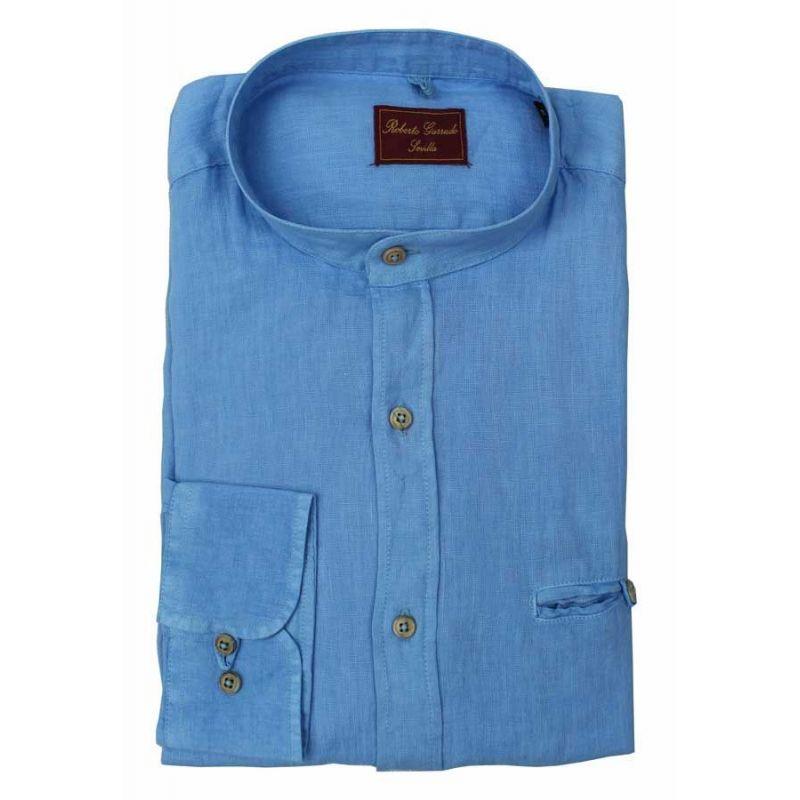 Camisa cuello mao azulón