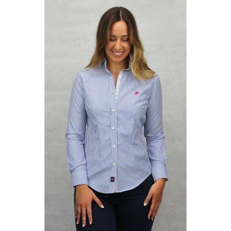 Camisa de señora con rayas azul