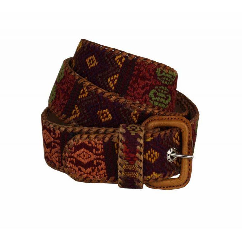 Cinturón naif étnico en color burdeos