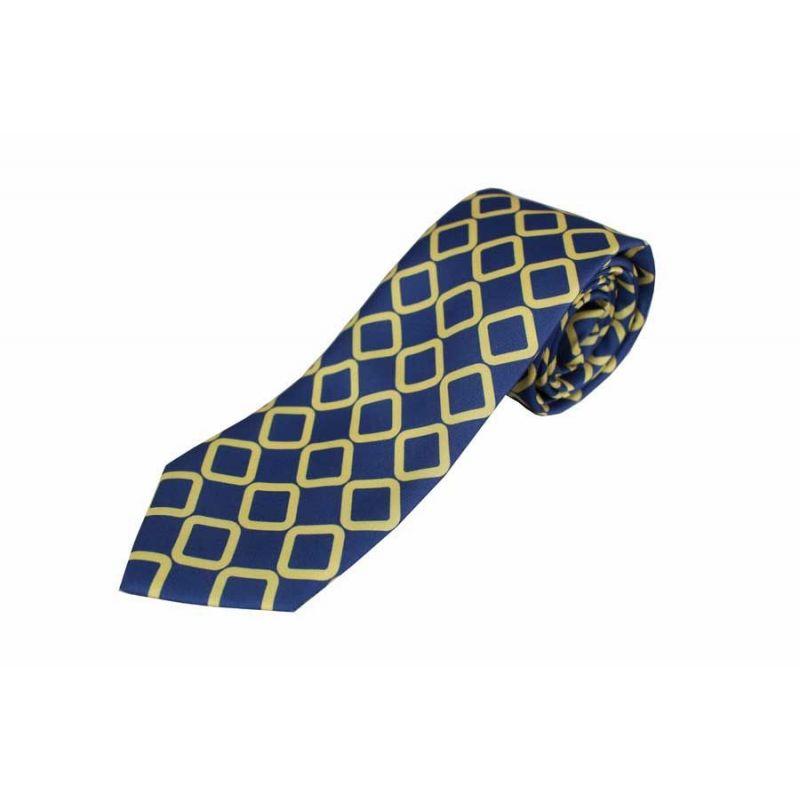 Corbata seda marino rombo amarillo