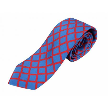 Corbata seda azul rombo rojo
