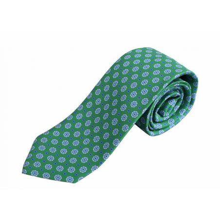 Corbata seda verde adornos celeste