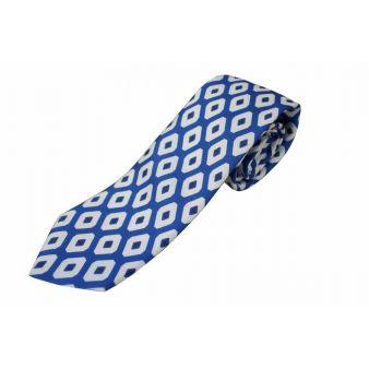 Corbata seda azul rombo blanco
