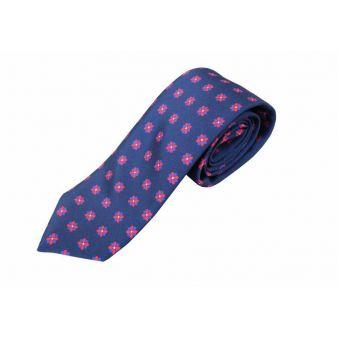 Corbata seda marino flor roja y azul