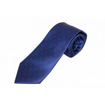 Corbata seda azul lunar rojo