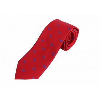 Corbata seda roja con perros