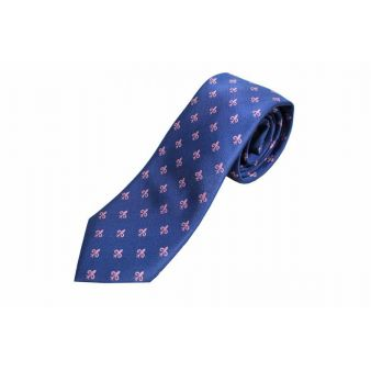 Corbata seda azul adorno escudo