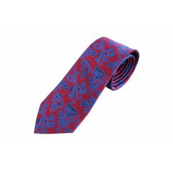 Corbata seda roja cachemire azul