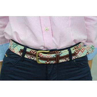 Cinturón cuero-tapicería picos