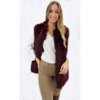 Burgundy natural fur...