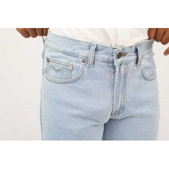 Faded denim country trousers