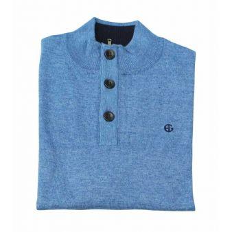Jersey botones azul índigo