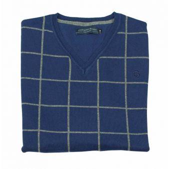 Jersey cuello pico cuadros azul