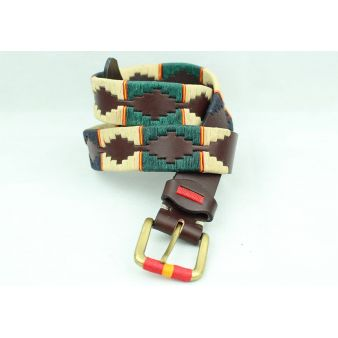 Mixed brown embroidered belt